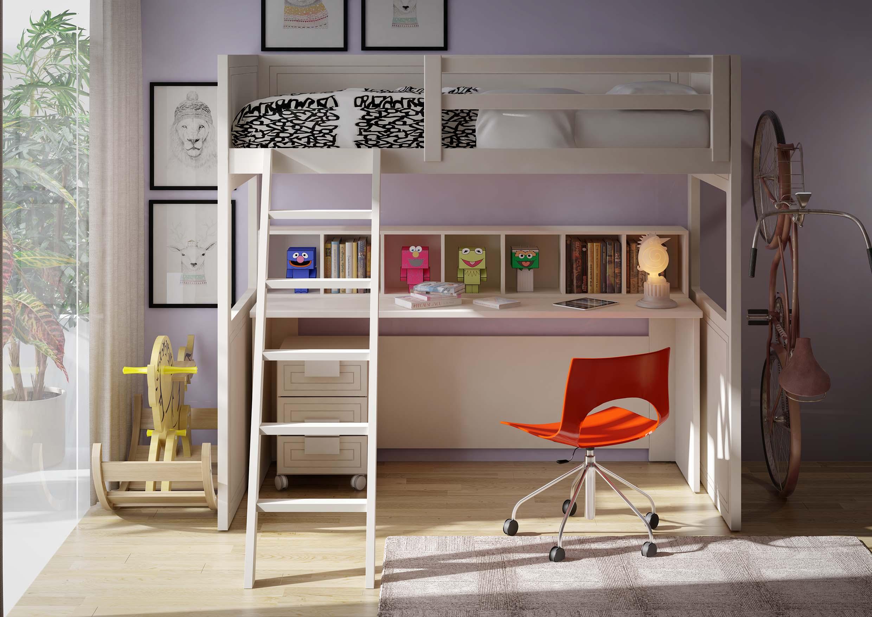 Cama alta con escritorio debajo - Cama con escritorio abajo ...
