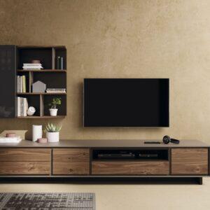 mueble de salon moderno nogal y lacado oscuro
