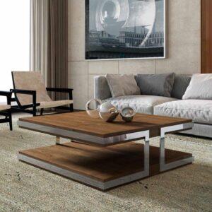 mesa centro madera y cromado