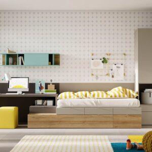 Dormitorio juvenil con cama con cajones