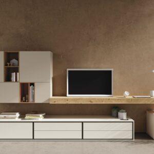 mueble de salon con cajones,balda para escritorio y modulo de puertas y huecos blanco y roble nudoso