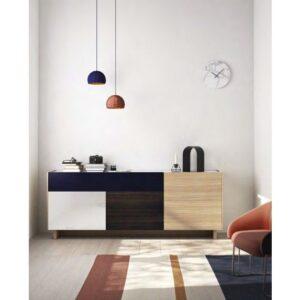 aparador con puertas y cajones combinado en madera,lacado y ceramica