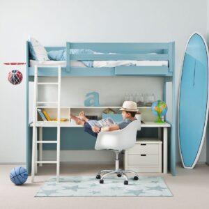Cama alta con escritorio debajo 1