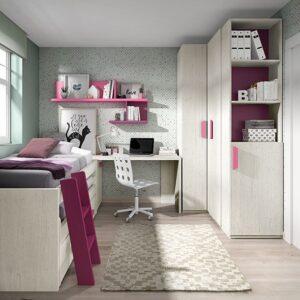 dormitorio con cama compacta con escalera,escreitorio y armario de rincón