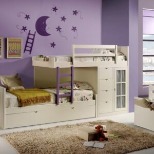Cama tren infantíl con 3 camas 1