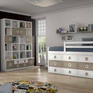 Dormitorio con cama con cajones 1