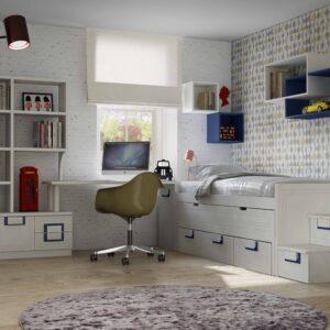 Dormitorio con cama compacta y escalera de cajones 1
