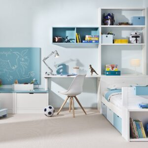 Dormitorio infantíl en blanco y azul 1