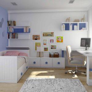 Habitación cama nido infantíl blanca 1