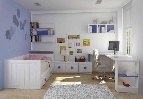Habitación cama nido infantíl blanca