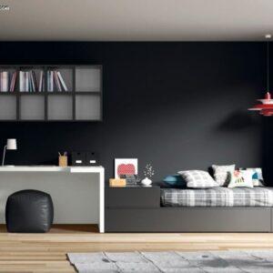 Dormitorio juvenil en gris y blanco con una cama,mesa de estudio y armario de rincon