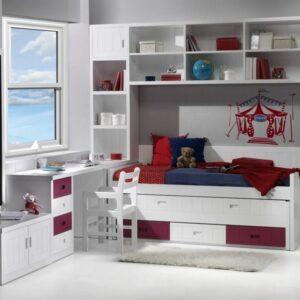 Dormitorio berenjena y blanco 1