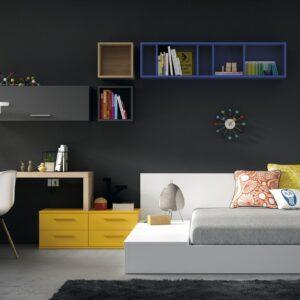 Dormitorio juvenil con cama tipo tatami 1