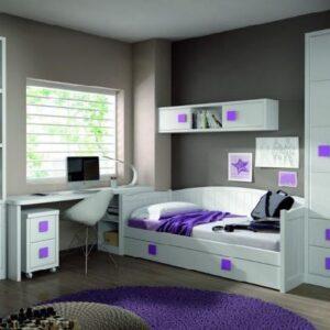 Dormitorio blanco con cama nido 1