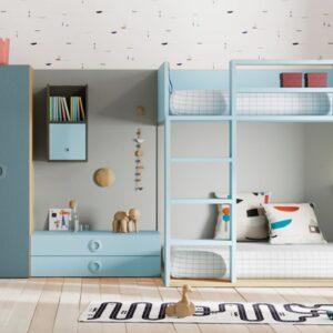 Dormitorio infantil blanco y azul con litera,armario y cajones