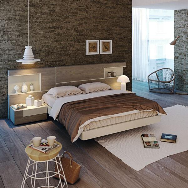 Dormitorio de matrimonio con huecos y dos mesillas nogal y arena