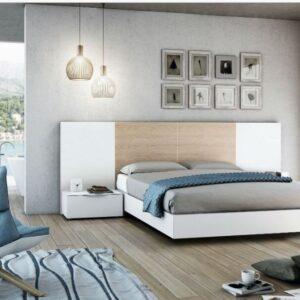 Dormitorio de matrimonio roble y blanco 1