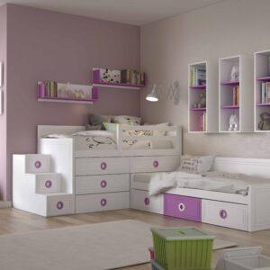 Dormitorio infantíl lila 1