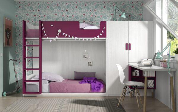 dormitorio con litera baja para niños ,armario con gran capacidad y escritorio