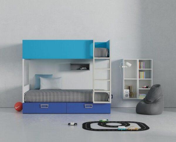 litera con cajones combinada en azul y blanco