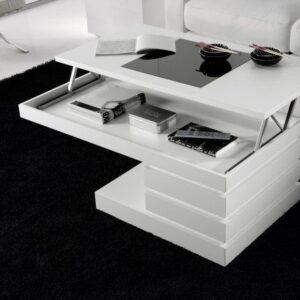Mesa de centro elevable blanco lacado