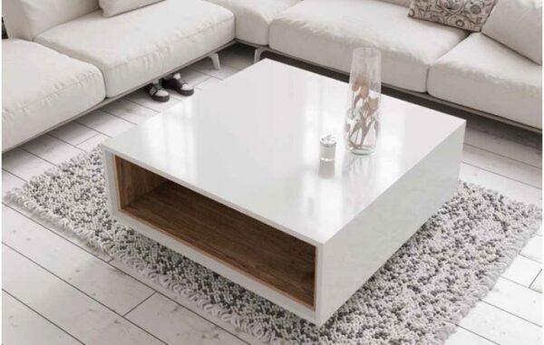 mesa de centro cuadrada blanca