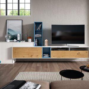 mueble salón blanco y roble nudoso