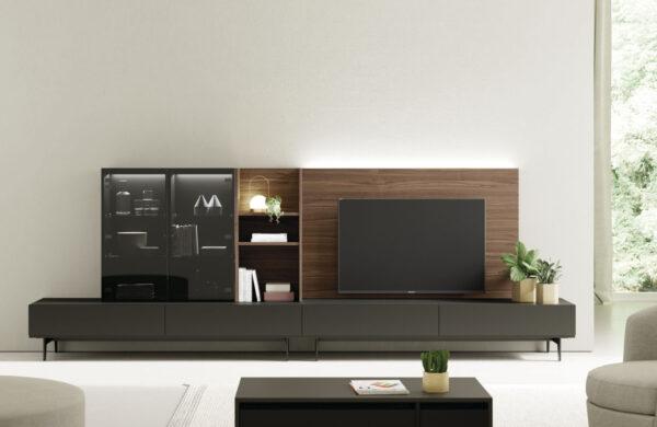 mueble de salon bajo con vitrinas con luz