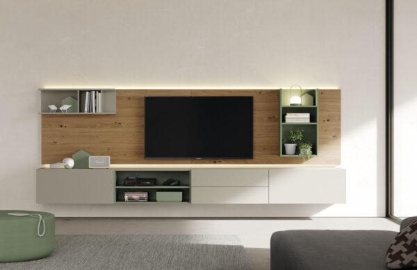 mueble salon colgado con panel tv arena,roble y verde