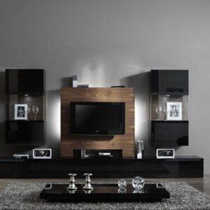 Mueble de salón nogal y negro 1