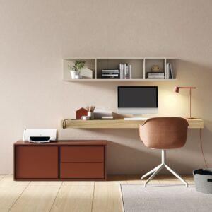 mueble de salón con cajonera y estante a modo de escritorio y estantería colgada